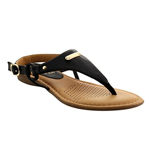 ANGELINA FI25 Womens T-strap Slingback Thong Style Wedge Sandals Black 4GLAZ5k