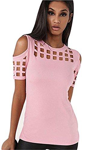 YOGLY Camisetas Mujer Verano Blusas T Shirt Cmisetas con Mangas Cortas de Color Sólido Ocasional Camisa Rosa