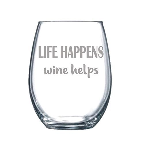Life Happens Wine Helps - Funny Gift Laser Etched Wine Glass Cursive - 15 oz
