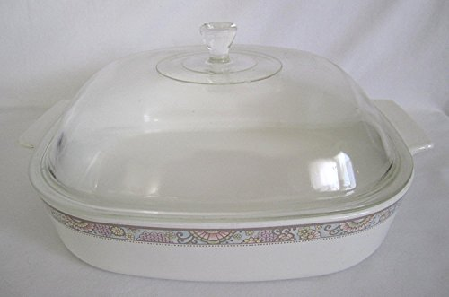 Vintage 1970s Corning Centura Cook n Serve  inch Shangri La  inch 2 Quart Skillet Casserole Baking Dish