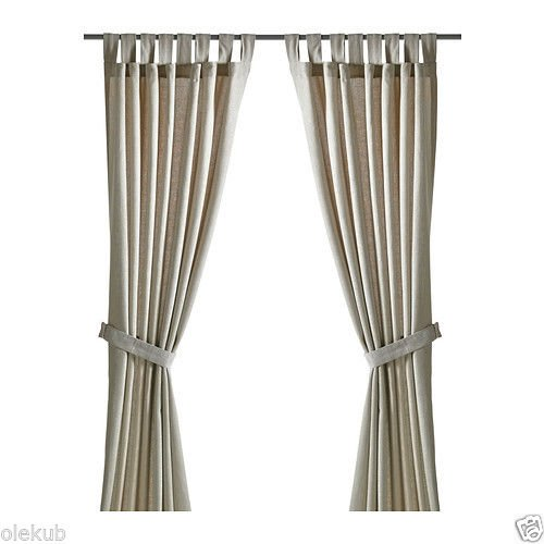 Ikea LENDA Pair of curtains with tie-backs, light beige 2 Panels
