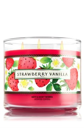 STRAWBERRY VANILLA 3 Wick Candle 14.5 oz Bath and Body Works