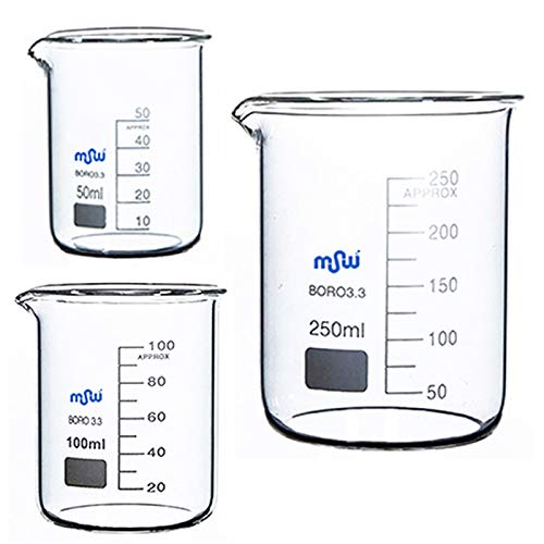 MSWLABS Graduated Borosilicate Glass 3.3, Bearkers 50ML, 100ML, 250ML, Lab Glassware Price & Reviews