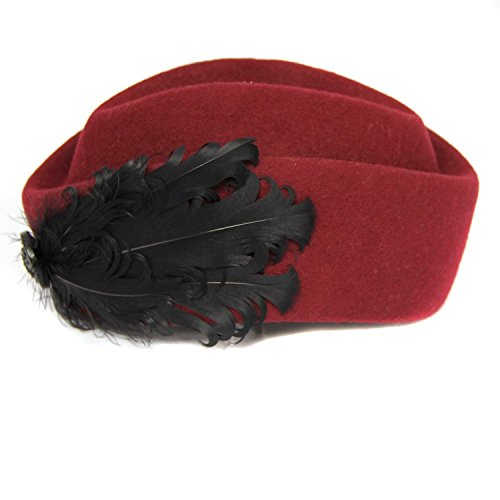 Women's British Style Cocktail Party Wedding Feather Wool Beret Pillbox Hat (Wine)