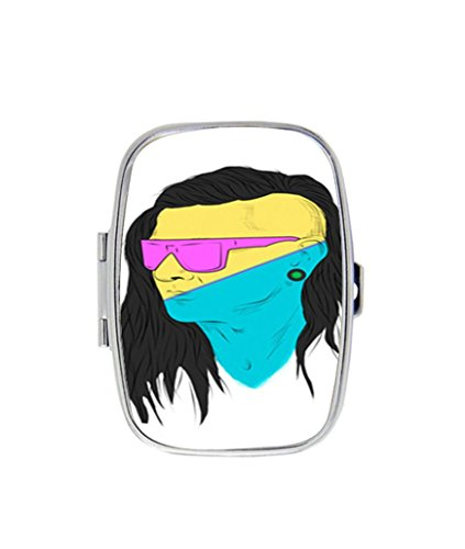 Skrillex with Sunglass Custom Rectangle pill box case useful Stainless Steel Medicine Tablet Holder Organizer - Sunglasses Skrillex