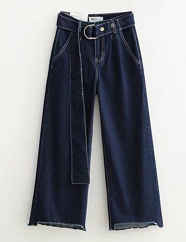 Alto Color Las Algodón Pantalones Blue Sólido De chinos Mujeres Subida Yfltz Vaqueros caída 1Zzqpnn6