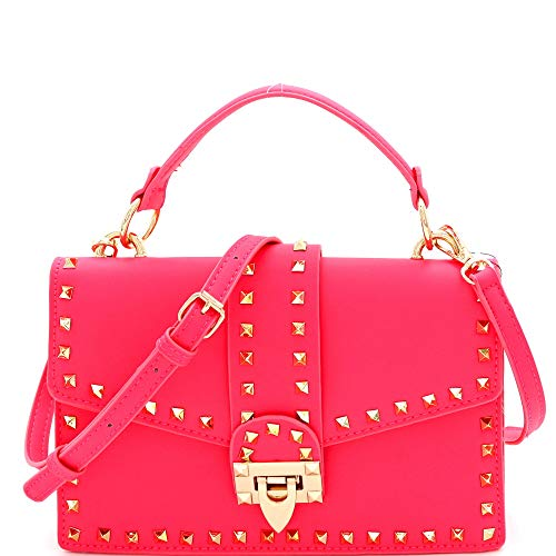 Mini Top-Handle Retro Box Flap PU Leather Satchel Crossbody Neon (Studded Top-Handle - - Flap Handbag Medium