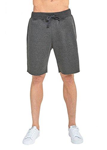 JMR Men's Fleece Sweat Pants Jogger Running Shorts (Large, Charcoal Grey)