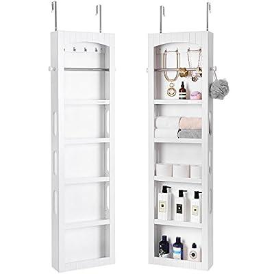 SONGMICS Bathroom Storage Cabinet Organizer, Door Wall Mounted Large Room, Height Adjustable Shelves, White UBBC74WT