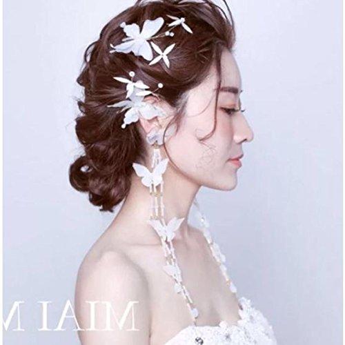 TKHNE Flight attendants professional hand-silk yarn butterfly side clip earrings crystal beaded headdress suit bride wedding accessories Hair Accessories ()