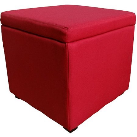 Better Homes and Gardens Wood Composite, Metal and Fabric Padded top Hinged Ottoman Recommended for Family Room, Bedroom and Living Room, Available in various colors - Red
