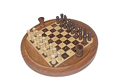 Purpledip Mini Wooden Chess Set With Easy Disposal Mechanism Of Defeated Pieces For Travel Convenience (10687a)