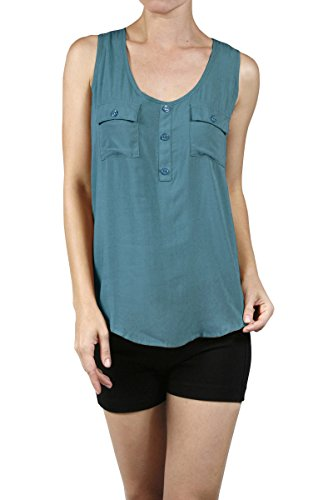 Double Pocket Button (Ever77 Women's Tank Top W/Front Double Pockets & Button Detail/TT1020AC-Indian Teal,L)