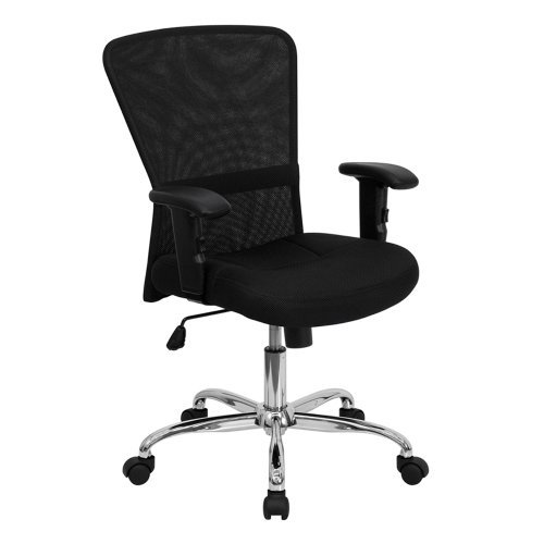 Amazon.com: GO-5307B-GG respaldo medio Negro Mesh Chair Computer ...