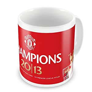 Plc Manchester United Coffee / Tea Mug - ' Champions 2013 20 Times Champions Of England 13 Premier League Titles ` - Badge And Text Design