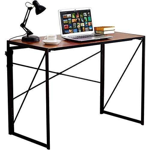 VECELO Writing Computer Folding Desk Sturdy Steel Laptop Table for Home Office Work
