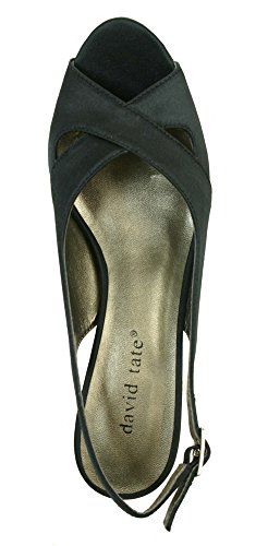 David Tate Womens Palm Sandals Black Satin DJLUwe2
