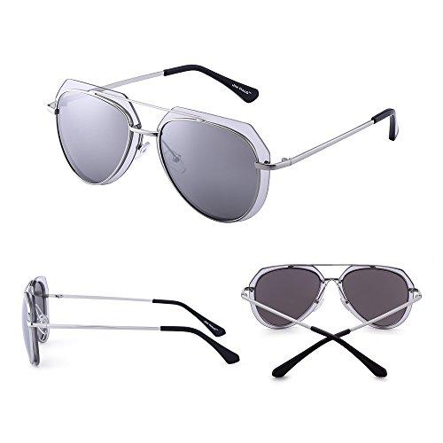 Anteojos Sol Marco Diseño Metal Espejo Plateado de Aviador de Hombre de Plateado Gafas Espejo Doble Mujer Yw5CqxB
