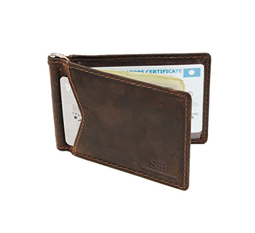 a9b03118e4cd SERMAN BRANDS RFID Blocking Wallet Slim Bifold Genuine Leather Minimalist  Front Pocket Wallets for Men with Money Clip