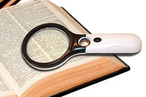 DR Magnum Magnifying Glass 3X 45X Magnifying Glass 3LED Lights Magnifier With Light Great Elderly Gift Magnifying Glass. This 45X Magnifier Glass Has 3X LED Lights For Night Reading ()