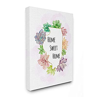 The Stupell Home Decor Collection Illinois State Home Sweet Home Succulent Watercolor Vignette Canvas Wall Art