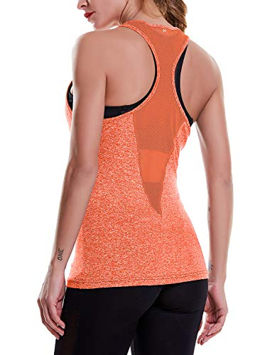 OYANUS Womens Yoga Tops Activewear Running Workout Clothes Quick Dry Sports Gym Shirts Racerback Mesh Tank Tops for Women Orange S