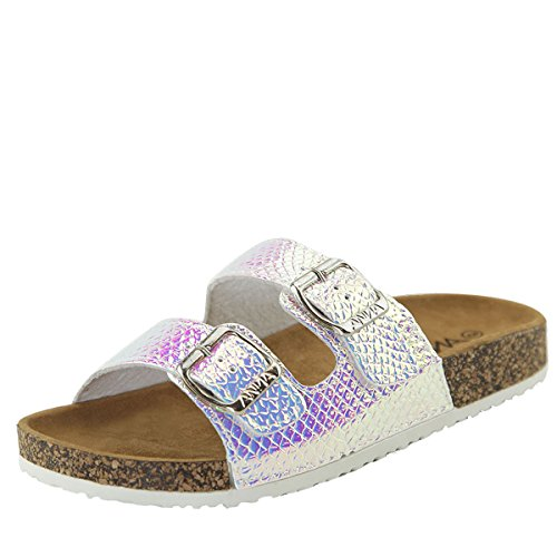 ANNA Womens Open Toe Double Hologram Slide Cork Platform Flat Flip Flop Sandal White oGkJBFwqN