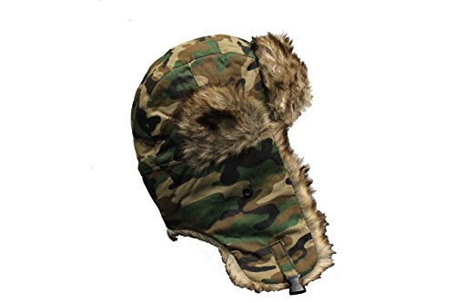 FOREST CAMOUFLAGE Trapper Furry Winter Hat .. New