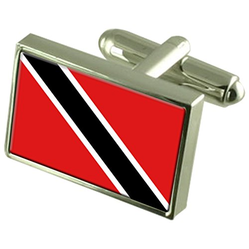 Trinidad & Tobago Sterling Silver Flag Cufflinks by Select Gifts