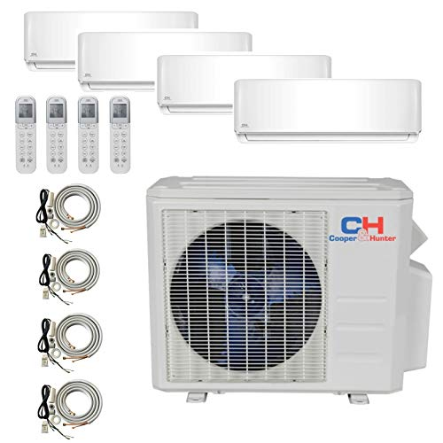 COOPER AND HUNTER 4 Zone Mini Split – 9000 + 9000 + 12000 + 18000 – Ductless Air Conditioner – Pre-Charged Quad Zone…