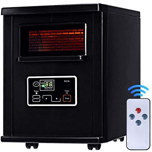(Giantex Portable Electric Space Heater, Infrared Quartz Mini Heater with Digital Thermostat, Remote Control, Timer & Filter, Black)