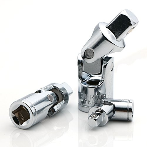 Universal Joint Set, Joint Adapter Ratchet Socket, Universal Sleeve Manual Tool Designed for All The Hexagonal Side Handle, 1/4-Inch, 3/8-Inch, 1/2-Inch Drive Set, 3-Piece, Chrome Vanadium Steel (Swivel Socket Adaptor)