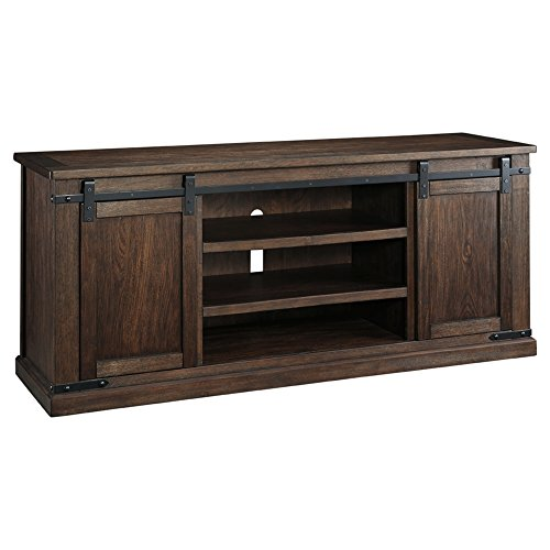 Ashley Furniture Signature Design - Budmore Extra Large TV Stand - Sliding Barn Doors - 70 Inch - Rustic - Brown - French Country Oak Armoire