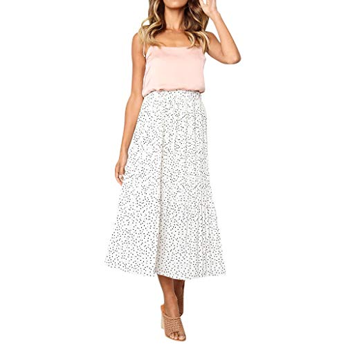 (Women Casual Retro High Waist Floral Maxi Dress Print Skirt)