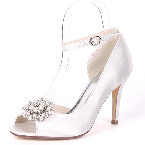 Mujeres Rebordear Hebilla Satén White L De 9cm Boda Bombas Zapatos Las Heel Noche yc Rhinestones Toe Peep Nupcial SSx0R