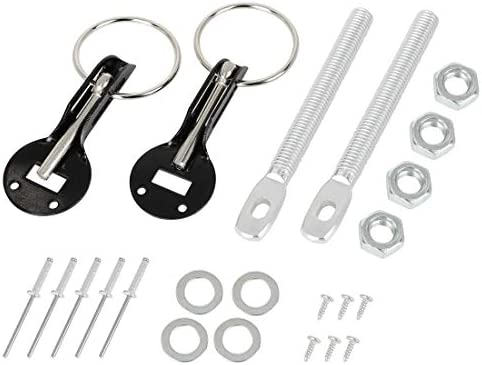 black Akozon Hood Pins with Accessories CNC Aluminum Alloy Universal Car Racing Hood Pin Lock Appearance Kit