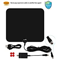 HDTV Antenna Indoor TV Antenna Digital Antenna 50 Mile Range Detachable Amplifier Signal Booster and 16.5FT High Performance Coax Cable for Better Reception (40Mile)