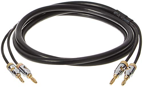 AmazonBasics Speaker Cable with Gold-Plated Banana Tips - CL2 - 99.9% Oxygen Free - 6-Foot
