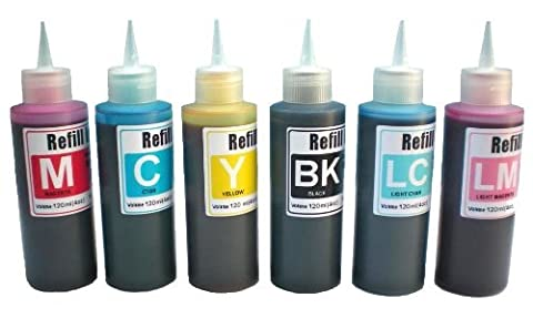 Ink refill set for CIS/CISS or refillable cartridges using Epson 48, 49 ink: R200, R220, R300, R320, R340, RX500, RX600, (Ciss Epson R300)