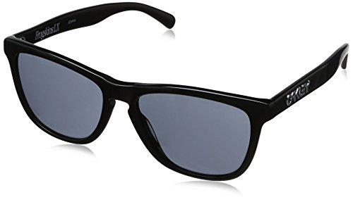 Oakley 002043-01 Frogskin LX Oval Sonnenbrille, Black - Rahmen Polished Black / Gläser Grey/Grey (S3)