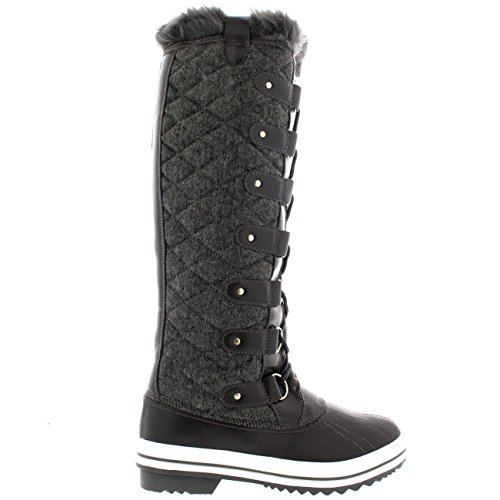 Polar Produkte Womens Stepp Kniestrumpf Duck Rain Lace Up Muck Schnee Winter Stiefel Graues Textil