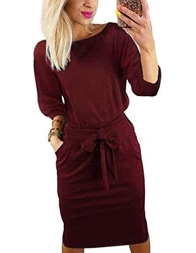 Women's Work Pencil Midi Dress Autumn Cotton Long Sleeve Elegant O-Neck Club Dress with ()