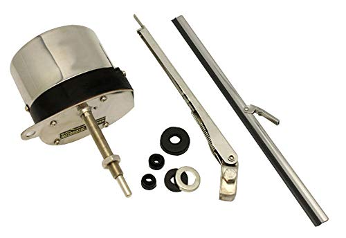 (Pirate Mfg Universal 12V Stainless Windshield Wiper Motor Kit, Compatible with Street Rat Rod)
