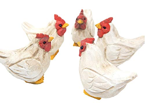 (Native Wooden Creations (5) Small White Hen Figurines - Wood Carving, Hand-Made, Farm-House Decor, Chicken Lover (White))