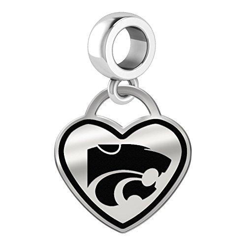 - Kansas State Wildcats Border Heart Dangle Charm Fits All Beaded Charm Bracelets