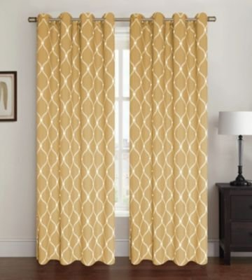 Kashi Home Celine Collection Window Treatment / Curtain / Panel 54″x 84″ Geometric Oval Design in Gold – Single Panel, Grommet Top with 8 Grommets