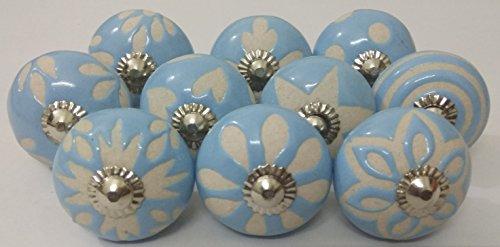 (10 Vintage Ceramic Knobs Zoya's Hand Carved Ceramic Knobs Handmade Ceramic Door Knobs Kitchen Cabinet Knobs Drawer Pulls Kid's Badroom Knobs by Zoya's (Sky Blue))