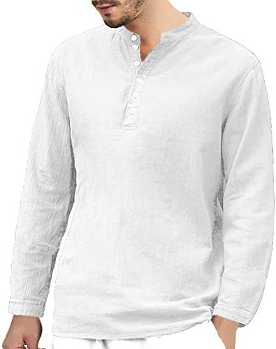 iZZZHH Men's Retro Cotton Linen Baggy T-Shirt Long Sleeve V-Neck Button Top Solid Blouse
