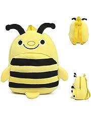 Deerbb Cute Mini Bee Backpack Yellow for Baby Kids, Toddler Child Small Leash Diaper Cartoon Bag Toys School Bookbag Book Pack for Boys Girls
