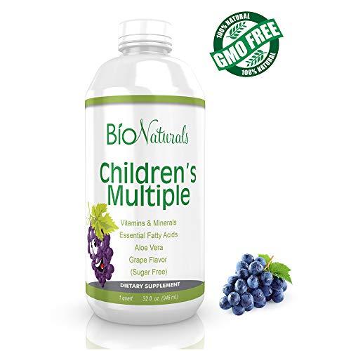Bio Naturals Children's Liquid Daily Multivitamin - Whole Food Supplement for Kids w/ Vitamins A B C D E, Elderberry, Omegas, Minerals, Enzymes & Organic Extracts - No Gluten, Sugar, Dairy - 32 fl oz